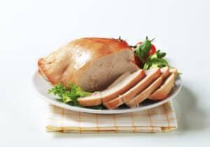 Sliced roast skinless turkey breast
